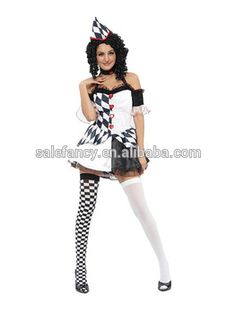 Sexy Harlequin Jester Clown Circus scary clown costume for women QAWC-2050