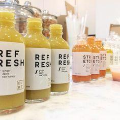 prepping our first shot bottles! shown here: REFRESH: ginger, apple, raw honey + STRETCH: turmeric, goji berry powder, apple, carrot, sweet potato, raw honey + GO GO: guarana, pineapple, lemongrass, cayenne #dirt #drinkclean