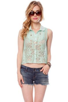 Button Down Laced Top in Sky Blue $41 at www.tobi.com
