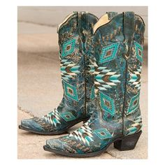 Corral Aztec Cowboy Boot ($270) ❤ liked on Polyvore featuring shoes, boots, turquoise, corral boots, embroidered boots, metallic boots, cowgirl boots and embroidered western boots