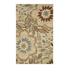 Style Selections Rectangular Cream Floral Tufted Area Rug (Common: 8-ft x 10-ft; Actual: 7.5-ft x 10-ft)