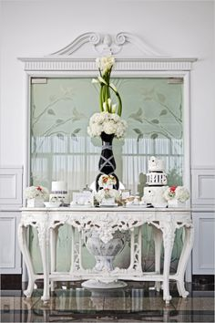 vintage black and white dessert table