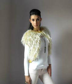 Knit Vest Cardigan Jacket  Handmade  Cream Gold and by Silvia66, $138.00