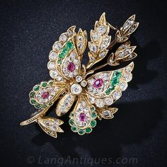 Antique Diamond, Emerald and Ruby Butterfly Brooch - 50-1-4501 - Lang Antiques