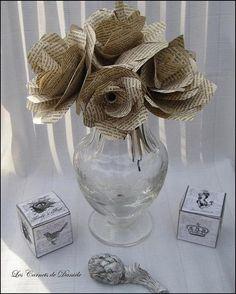 Bouquet fleurs papier ancien