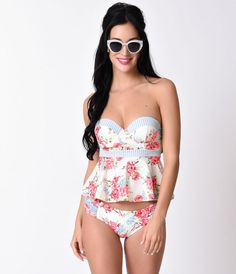 Give things a beauteous boost, darling. This blue and pink floral and gold dotted cream tankini top from Betsey Johnson is vintage bathing suit meets modern marvelousness! This retro style swim separate features partial shimmery mesh lining, a flattering