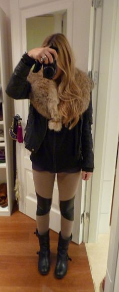 fur collar outfit - Google Search