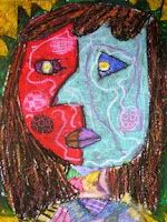 Oil Pastel Picasso Faces Art Lesson