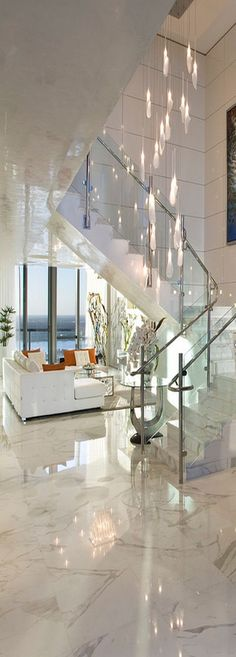 Luxury, living, clean, white, open, windows, view, light, living room, entry, stairs,