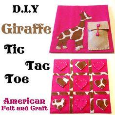 DIY Giraffe Tic Tac Toe Tutorial for a quiet book Tic Tac Toe, Felt Diy, Felt Crafts, Valentine Crafts, Valentines, Valentine Ideas, Diy Cutting Board, Felting Tutorials, Busy Book