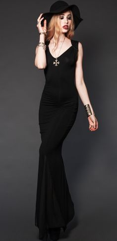 Lip Service | Clothing SPIKED RAYON JERSEY GOWN #dress #black #goth