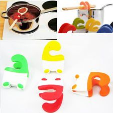 Silicone Pot Clip Spoon Rest Pan Spatula Holder Heat Resistant Kitchen Utensil !