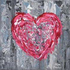 Pink Heart Painting 12 Valentine Art Wall Art Canvas