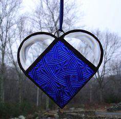 Blue heart suncatcher stained glass window by DesignsStainedGlass