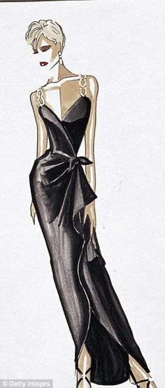 The sketch for Diana's Bellville Sassoon LBD with beaded jewelled straps