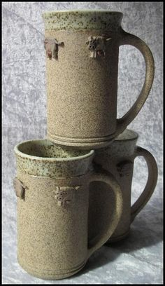Pottery mugs keep your coffee hot or your beer cold.