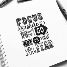 Handlettering Inspiration Quote: Focus on where you want to go not on what you f. Handlettering Inspiration Quote: Focus on where you want to go not on what you fear Calligraphy Quotes Doodles, Doodle Quotes, Handwritten Quotes, Hand Lettering Quotes, Creative Lettering, Typography Quotes, Art Quotes, Inspirational Quotes, Calligraphy Handwriting