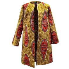 Tari African Print Ankara Lined Long Jacket with Pockets in tan orange African Print Dresses, African Dresses For Women, Formal Dresses For Women, African Attire, African Wear, African Women, African Prints, African Inspired Fashion, African Print Fashion