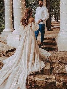 gown backless LORIE Off The Shoulder Princess Wedding Dress Sweetheart Appliqued Puff Sleeves Bride Dress A-Line Backless Boho Wedding Gown Boho Wedding Gown, Sweetheart Wedding Dress, Bridal Gowns, Rustic Wedding, Wedding Ideas, Boho Bride, Simple Country Wedding Dresses, Pirate Wedding Dress, Beige Wedding Dress
