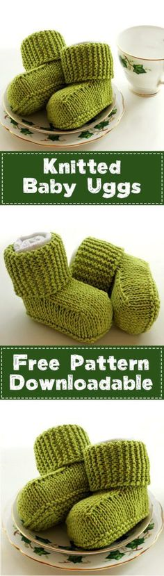 Downlodo adable PDF free knitting pattern for baby uggs. A cute free pattern for modern looking baby booties. Knit in one piece to minimise seaming/weaving in