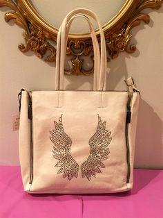 Låg shopperbag med änglavingar - Cream