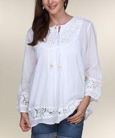 White Crochet Long-Sleeve Tunic