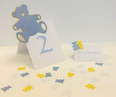 Teddy Bear Baby Shower Theme Table Set-Up Package for the little details that take your baby shower to the next level - Package includes: Table Number, 12 Imprintable Place Cards & Personalized Table Sprinkles $11 per Table.  Choice of Colors - All the items are available individually.