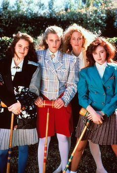 Heathers! 1980's fashion. Tried the tights + skirt. So fun.love this movie