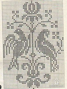 A nice pattern for cross stitch embroidery or filet crochet.