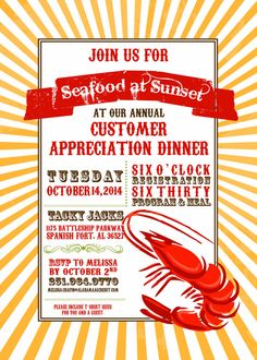 Shrimp Dinner Invitation 10/pk by KwikKopyshop on Etsy