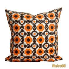 Throw Pillow Accent Pillow Cover Retro 1970s  Orange  by Retro68