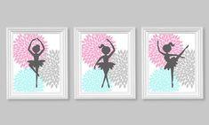 Ballerina Dancer Aqua Pink Gray Girl's Room by SweetPeaNurseryArt