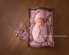 Digital Backdrop newborn girl wooden bed Background Cherry blossom floral wreath newborn Photography prop download pink High Res jpg file#21
