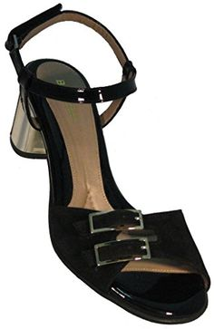 Women's 'Hazel' Black Adjustable Sandal with Gold Heel 40 M EU / 9 B(M) US Black