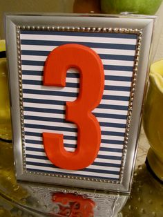 Coral & Navy Wedding Table Numbers // Polka Dot by TheGarrettGroup, $50.00