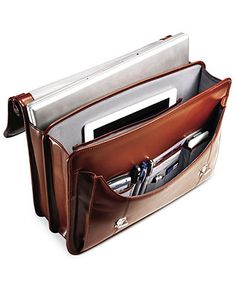Samsonite Leather Dowel Flapover Laptop Briefcase - Business & Laptop Bags - luggage - Macy's
