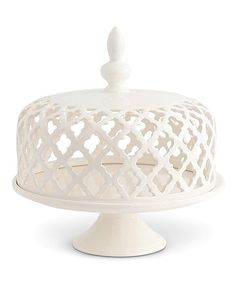 Take a look at this White Filigree Ceramic Lid Cake Plate today! Milk Glass Cake Stand, Cake Stand With Dome, Cupcake Stands, Kitchenaid, Cake Pedestal, White Dishes, Dessert Dishes, Pottery Sculpture, Plate Stands