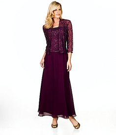 KM Collections Beaded-Lace Jacket Dress | Dillards.com