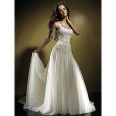 drop waist wedding dresses | Dropped Waist Tank sleeves Scoop Embroidered Beaded organza A-Line ...