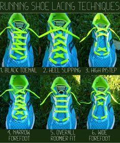 Maneiras e razões para alterar o trançado do cadarço do tênis.