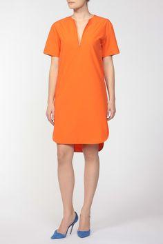 асимметричное свободное оранжевое платье длины мини Short Sleeve Dresses, Dresses With Sleeves, Cold Shoulder Dress, Clothes, Women, Fashion, Tall Clothing, Moda, Sleeve Dresses