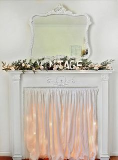 vintage christmas mantle, christmas decorations, fireplaces mantels, seasonal holiday decor, my fireplace mantle dressed with twinkle lights Decor, Shabby Chic Decor, Farmhouse Decor, Chic Decor, Vintage Mantle, Fireplace Decor, Shabby Chic Christmas, Christmas Mantle, Shabby Chic Farmhouse