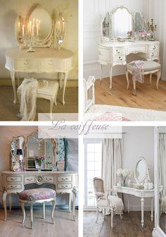 Wei er schminktisch mit vintage spiegel und stuhl wohnen for Schlafzimmerschrank vintage