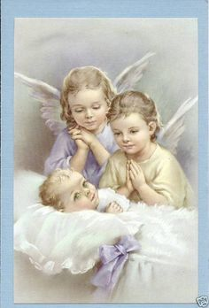 Catholic Large HOLY CARD picture GUARDIAN ANGELS with BABY Postcard size
