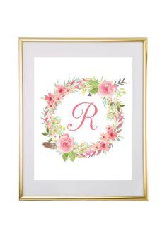 Watercolor Floral Wreath Monogram Maker
