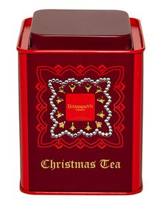 Dammann Frères [Dammann Freres]  Christmas Tea tin ... square with cap lid, in shades of red, n.d., France