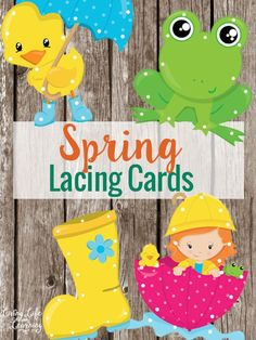 Spring Lacing Cards for kids to work on fine motor skills!