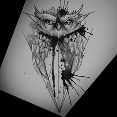 This one is actually super cool! I could get this on the top of my arm Owl Tattoo Design, Tattoo Designs, Sketch Tattoo Design, Owl Tattoo Drawings, Tattoo Sketches, Body Art Tattoos, Sleeve Tattoos, Rabe Tattoo, Geometric Owl Tattoo