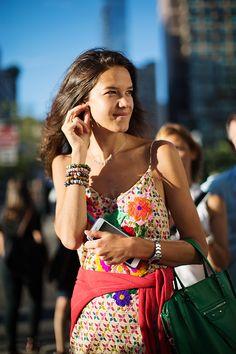 The Satorialist #summer #pattern #flowers #green #bag