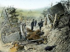 Union Army General Samuel Heintzelman inspects wreckage of horses and carts during the Civil War. During the long-running conflict, he was a prominent figure i rising to the command of a corps